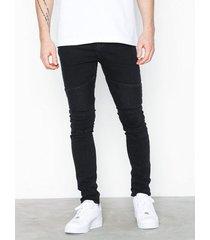 new look taylor washed blk skinny biker jeans black