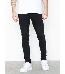 new look taylor washed blk skinny biker jeans black