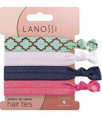 elã¡stico de cabelo lanossi hair ties mermaid 4 unidades - incolor - dafiti