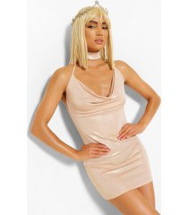 halloween metailic cowl choker mini dress, gold