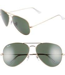 women's ray-ban 62mm aviator sunglasses - gold/ green solid