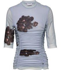 printed mesh blouses short-sleeved blauw ganni