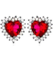 brinco vivi coração rubi di capri semi jóias x ródio negro grafite - kanui