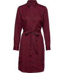 d2. signature weave shirt dress knälång klänning röd gant