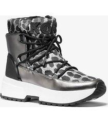 mk stivale cassia in nylon stampa ghepardo con effetto metallizzato a specchio - canna di fucile (grigio) - michael kors