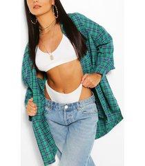 oversized geruite blouse, groen