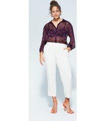 gebloemde organza blouse