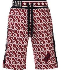 dolce & gabbana logo embroidered bermuda shorts
