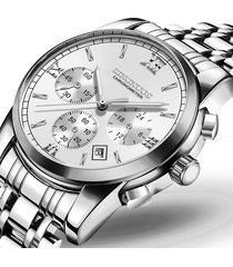orologi da uomo d'affari in argento cinturino in acciaio inossidabile data luminosa orologi al quarzo impermeabile