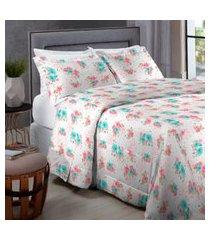 jogo de cama percal 200 fios queen home collection - appel - branco floral