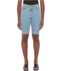 women's high-rise denim bermuda shorts