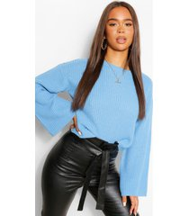 cropped flare sleeve sweater, bright blue