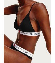 tommy hilfiger women's padded triangle bra - black - l