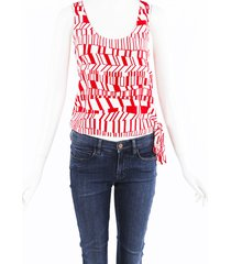 miu miu geometric tied tank top red/white sz: s