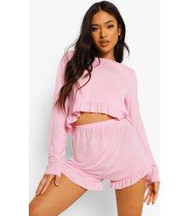 petite pyjama shorts met geplooide zoom, pink