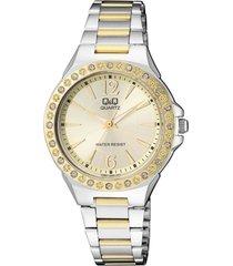 reloj q&q q987j400y para dama con perlas bicolor