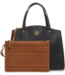 anne klein women's triple compartment satchel
