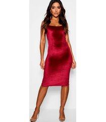 velvet longline neck midi dress, berry