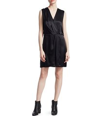 victor silk sleeveless wrap dress