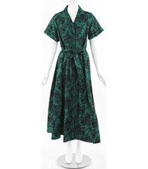 erdem 2019 cypress floral cotton dress black/green/floral print sz: m