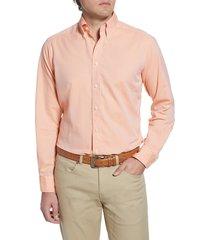 men's eton soft casual line contemporary fit oxford casual shirt, size 16.5 - orange