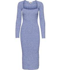 melange knit knälång klänning blå ganni