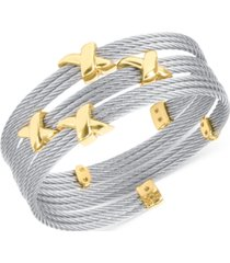 charriol twist cable wide wrap bracelet in stainless steel & gold-tone pvd