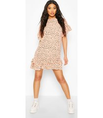 dalmatian print dress with ruffle hem & sleeves, peach