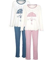 pyjama harmony oudroze/rookblauw/wit
