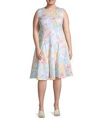 plus floral fit-&-flare dress