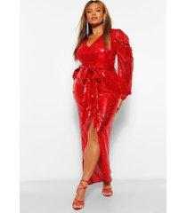 plus maxi wikkel jurk met pailetten, pofmouwen en ceintuur, rood