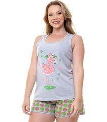 pijama short doll plus size feminino flamingo luna cuore