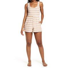 women's bp. terry sleeveless romper, size medium - white
