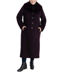 anne klein plus size faux-fur-collar maxi coat