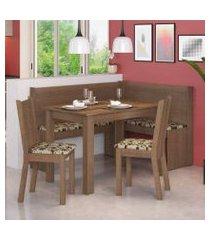 canto alemão madesa onill com mesa e 2 cadeiras rustic/bege marrom