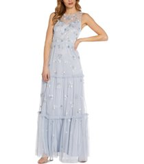 adrianna papell beaded tiered gown