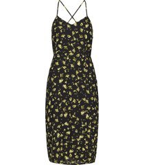 floral cross back slip dress knälång klänning svart calvin klein jeans