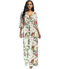 vestido largo de playa para mujer de talla grande vestidos negros elegantes vestido ajustado floral con estampado femenino vestido floral blanco