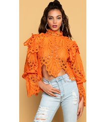 akira a lot of love long sleeve eyelet cropped blouse