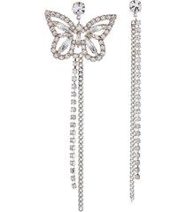 crystal chain butterfly asymmetrical drop earrings