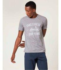 camiseta tradicional mescla estampada sustentável malwee cinza escuro - p