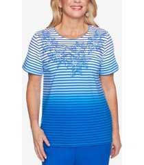 alfred dunner petite island hopping ombre stripe floral yoke top