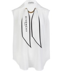 givenchy white silk top with chain and logo scarf