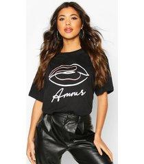 amour graphic t-shirt, zwart