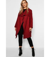 plus wool look wrap front coat, berry