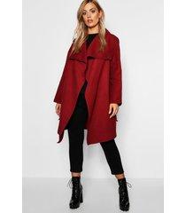 plus wool look wrap front coat, berry