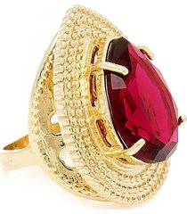 anel banho de ouro gota com cristal