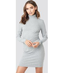 na-kd basic polo neck dress - grey