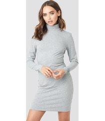 na-kd basic polo neck dress - grey