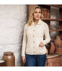 the corrib cable cardigan cream l